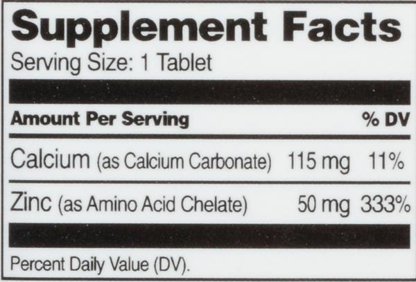 Hy-Vee HealthMarket Chelated Zinc 50mg Dietary Supplement Tablets
